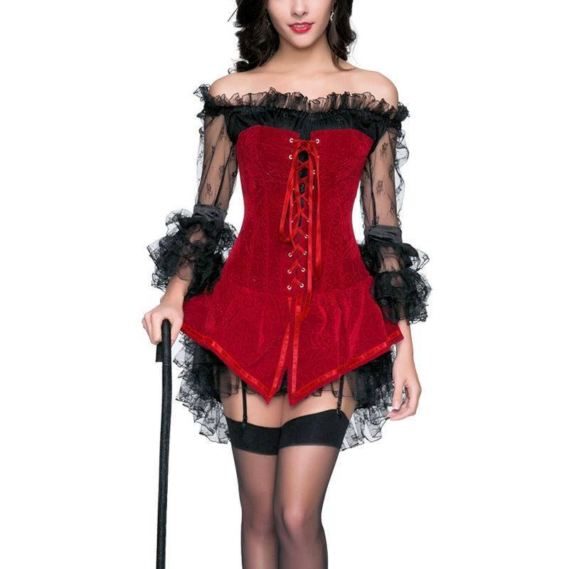 Corset Dress Red Velvet Jumper and Black Lace Dress