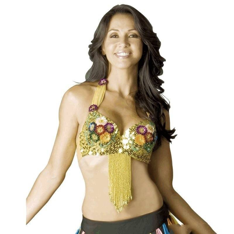 Belly Dance Costume Top Bra Style Colorful Flowers and Sequins