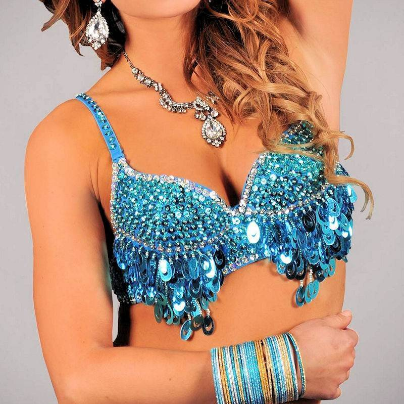 Belly Dance Costume Top Teal Charming Vixen