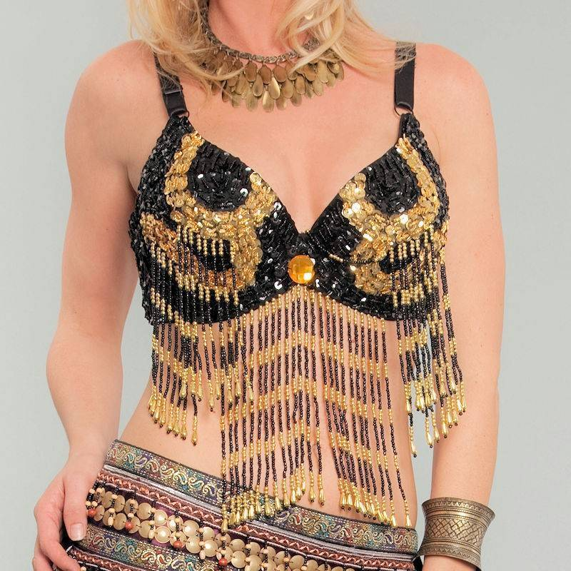 Belly Dance Beaded Bra Top in Black with Golden Designs