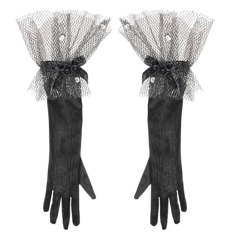 Gloves Elegant Long Black for Your Costume