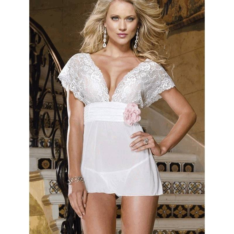 Bridal Lingerie White Baby Doll Nightie with Flower Trim