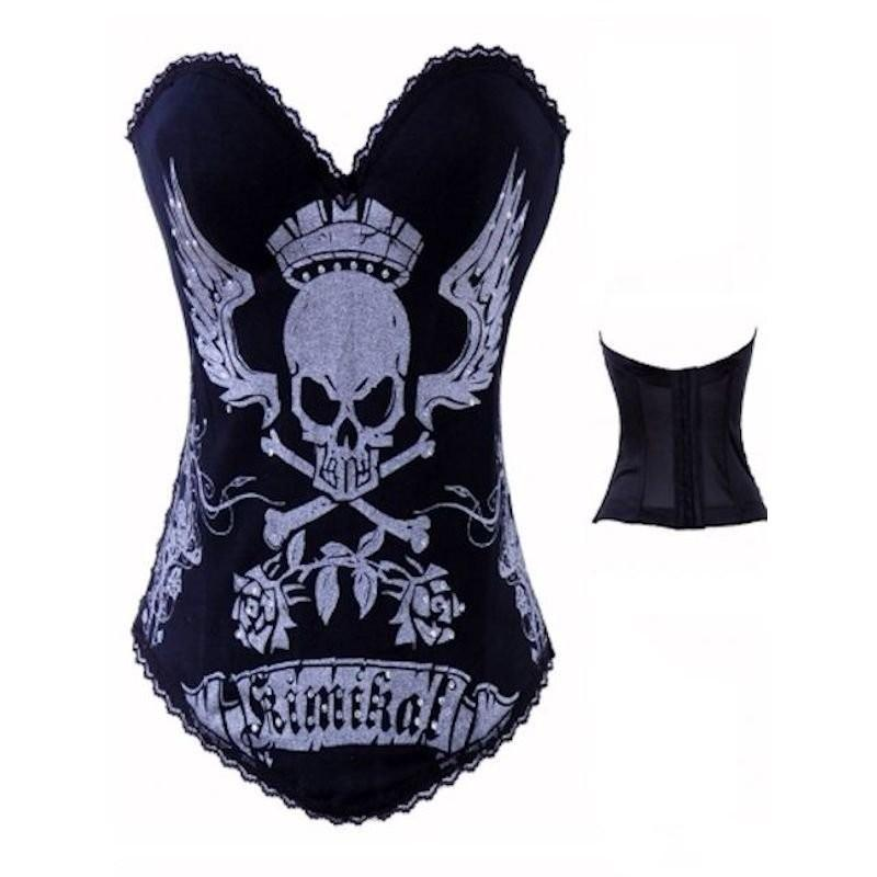 Bustier Top Skull Design with Rhinestones