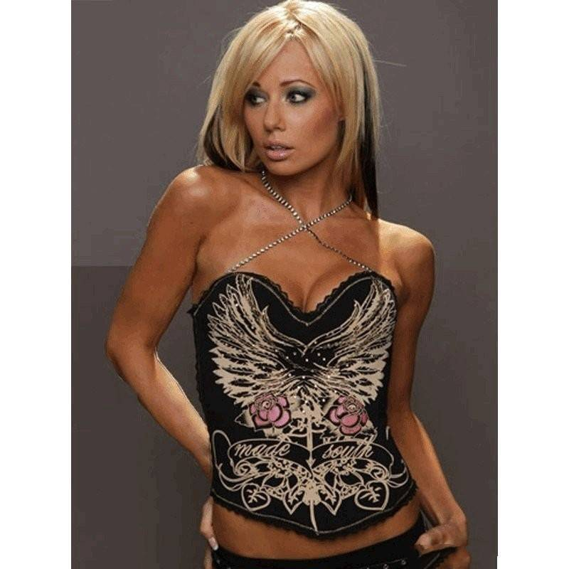 Bustier Black with Glistening Angel Wing Design