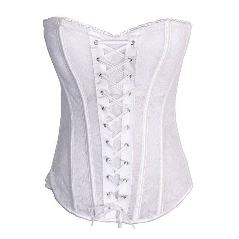 Bridal Bustier White Zipper Back & Lace Up Front