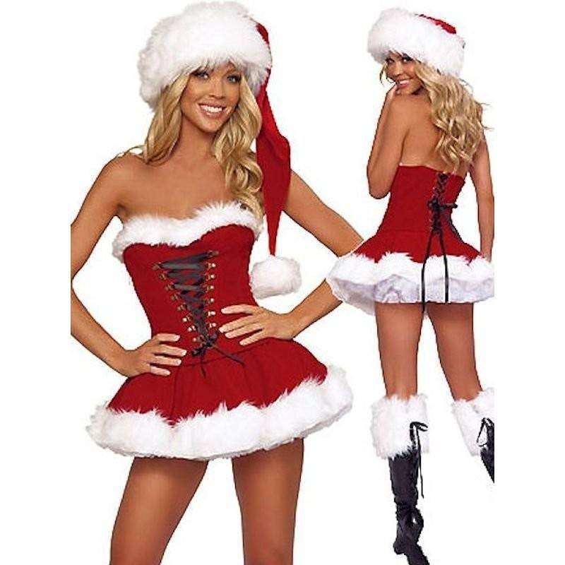 Corset Mini Dress & Long Santa Hat Christmas Costume