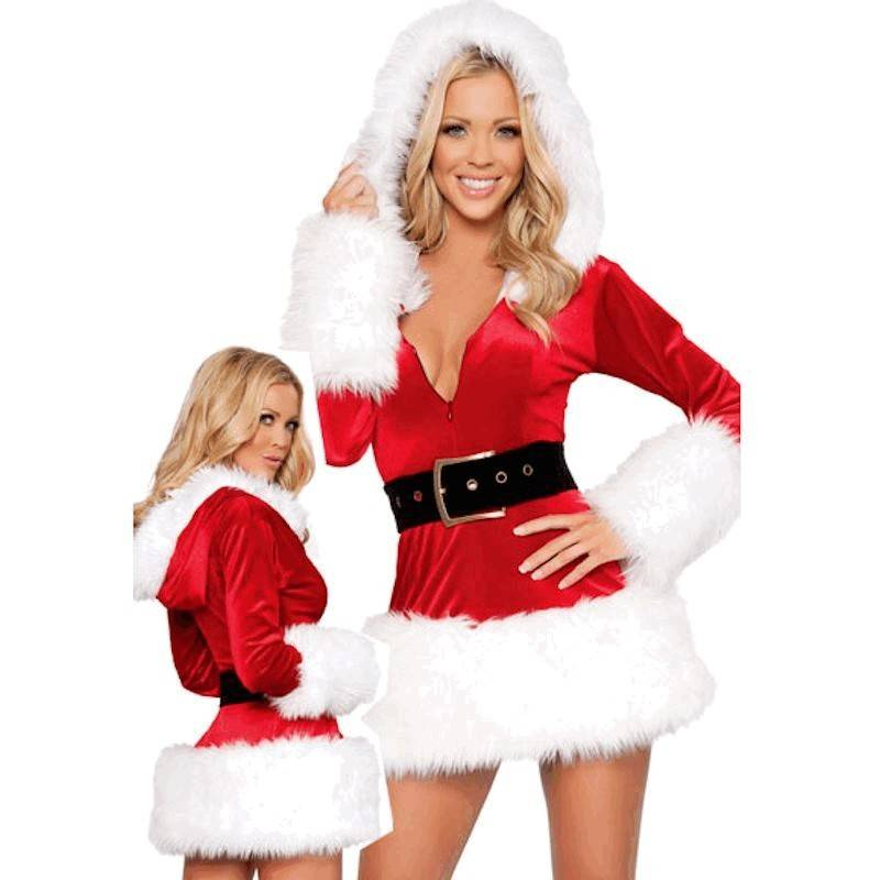 Faux Fur Trimmed Hooded Mini Dress Christmas Costume