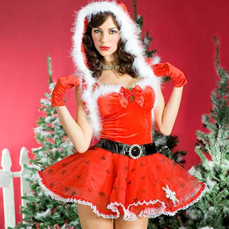 Feather Trimmed Dress & Jacket Christmas Costume