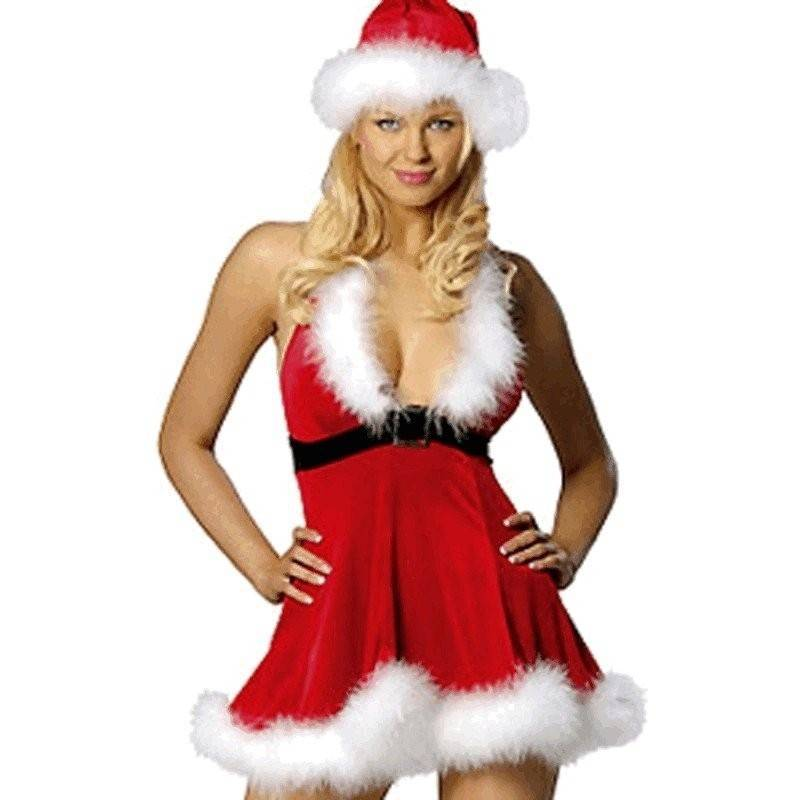 Feather Trim Halter Mini Dress Christmas Costume
