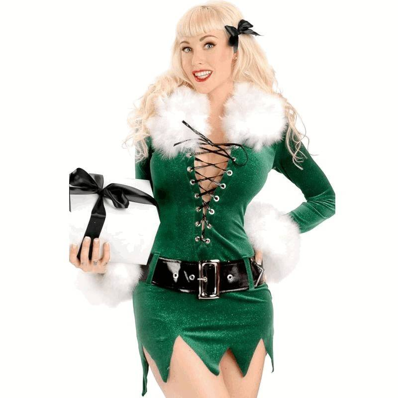 Green Velvet Sparkle Christmas Costume