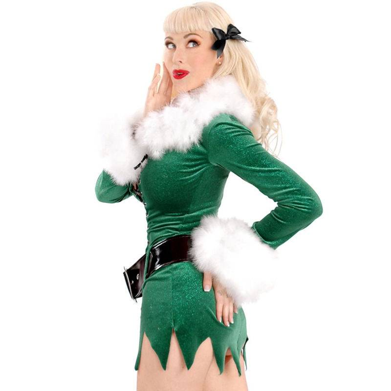 Green Velvet Sparkle Christmas Costume - Click Image to Close