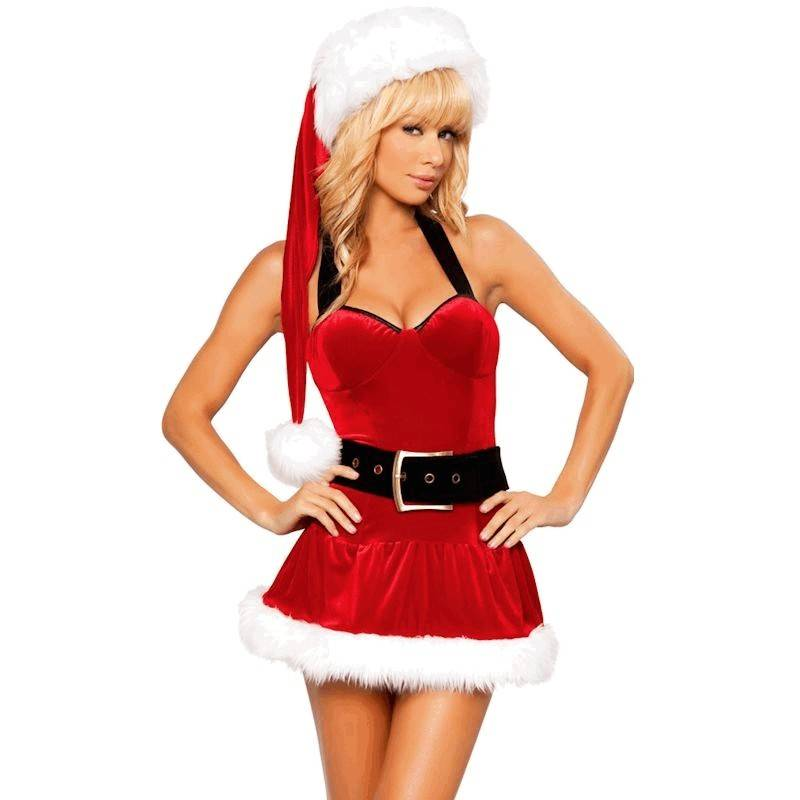 Halter Mini Dress Christmas Costume