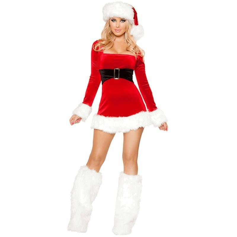 Long Sleeve Mini Dress & Hat Christmas Costume