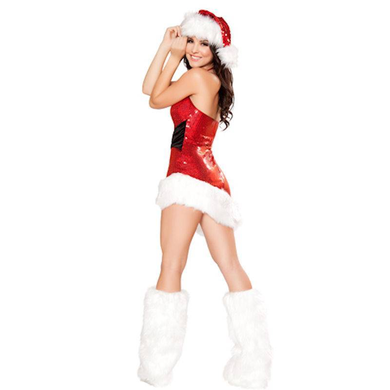 Slashed Hemline Red Sequin Mini Dress Christmas Costume