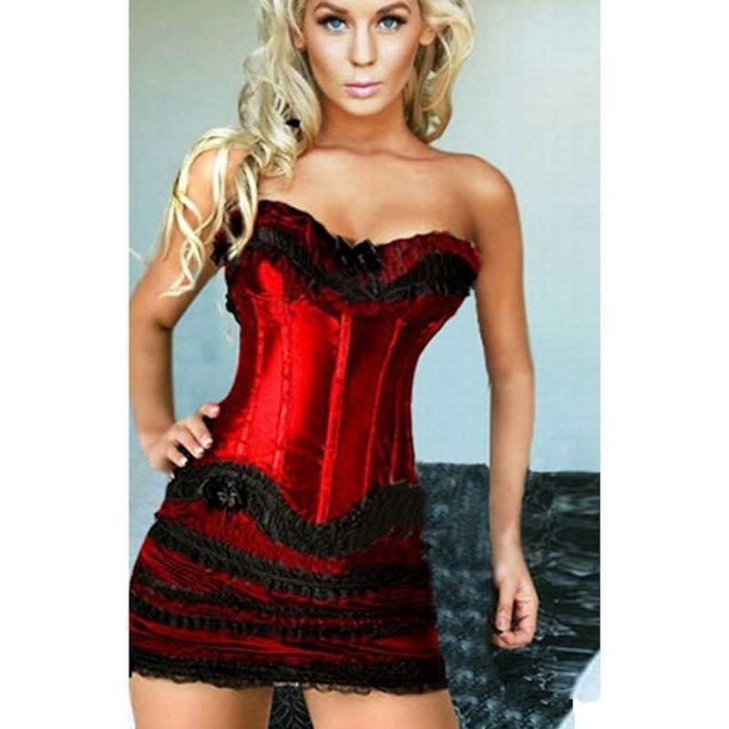 Corset Set Red Corset with Black Lace and Skirt