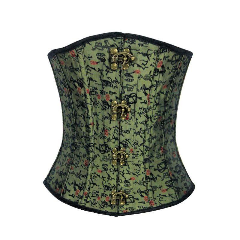 Steel Boned Underbust Corset Green with Hinge Closures