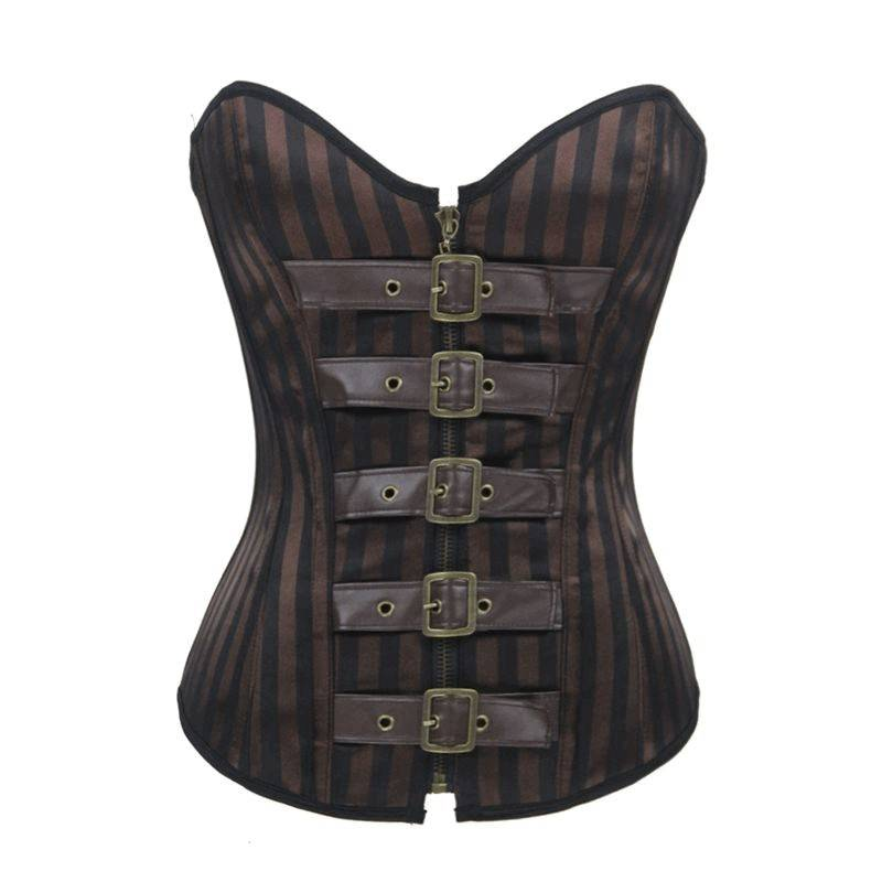 Steel Boned Corset Steam Punk Brown Striped Belted