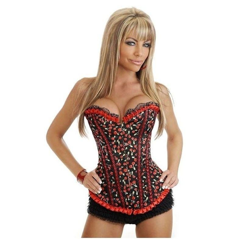 Corset Black with Red Ruffle Trim
