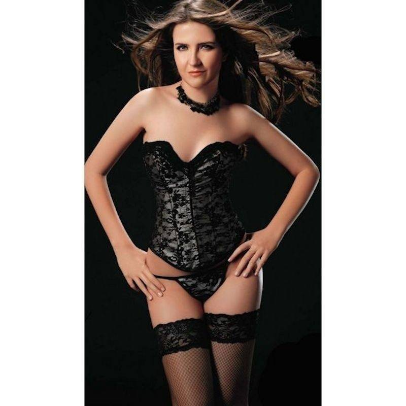Corset Silver with Black Lace Overlay Design