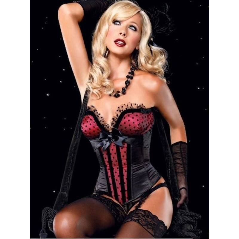 Corset Black Satin with Red Bodice