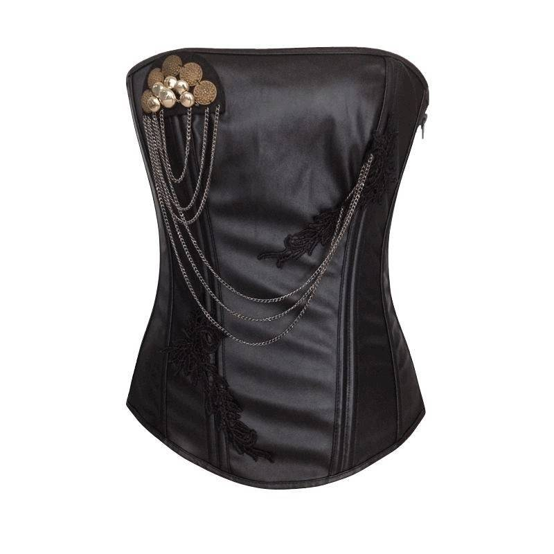 Corset Black with Jewel and Chain Accents