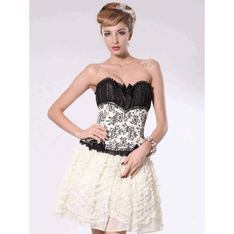 Corset Black Satin Bodice and White Floral Mid Section