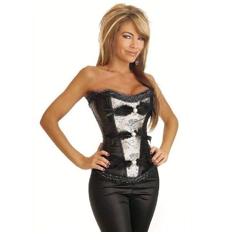 Corset Black with Feathers, Sparkles & Buttons