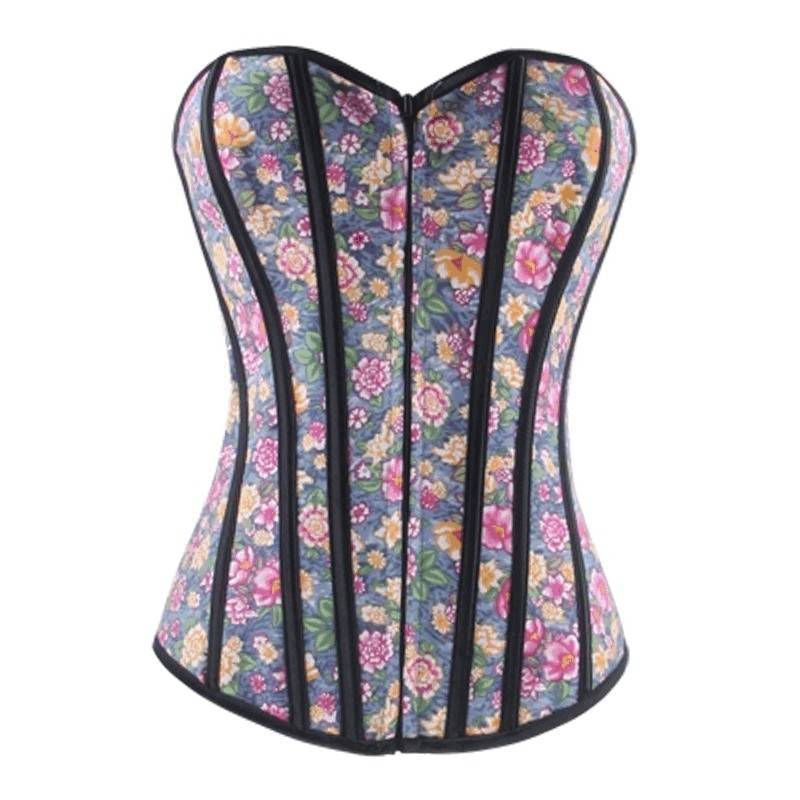 Corset Blue Denim Floral Design with Front Zipper