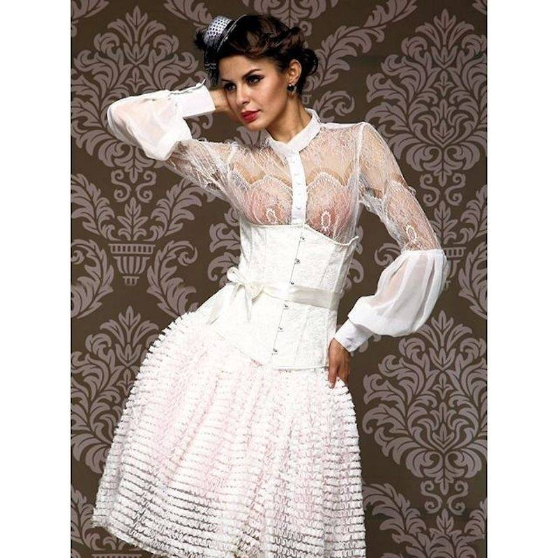 Bridal Corset Steel Boned Underbust White with Bow