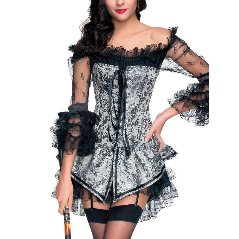 Corset Dress Silver Jumper and Black Lace Dress