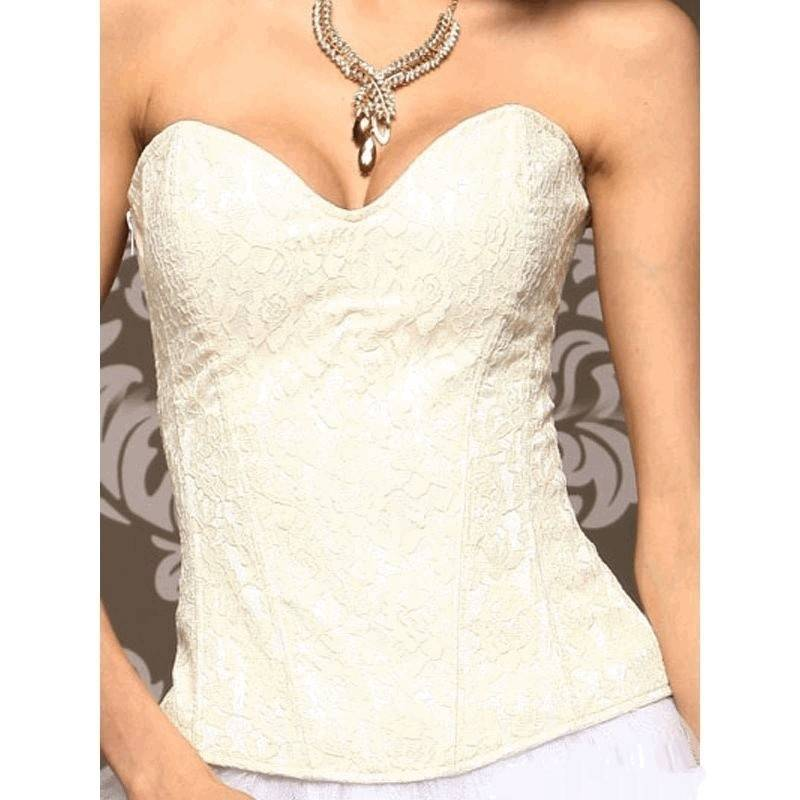 Bridal Corset Ivory with Lace and Side Zipper