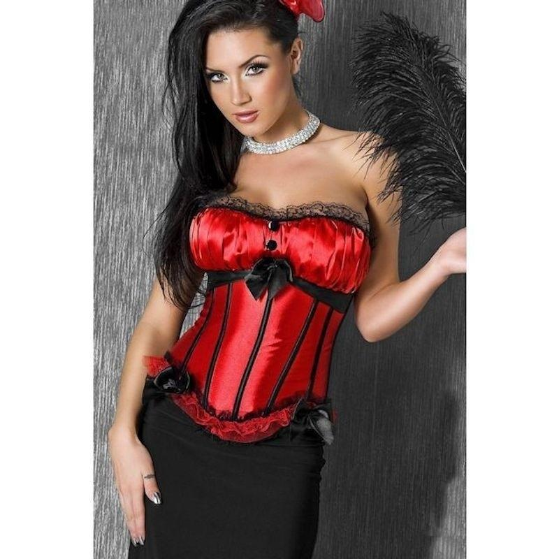 Corset Red with Side Zipper and Removable Straps