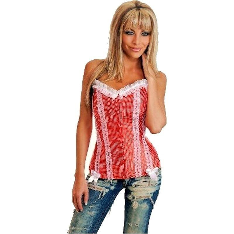Corset Red with White Designs and Lace