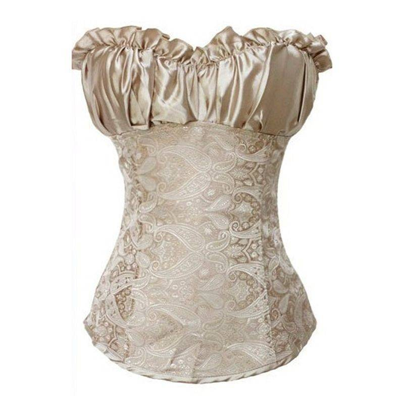 Corset Champagne Peasant Style with Side Zipper