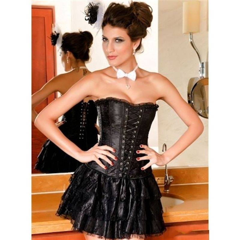 Corset Set Black Lace Corset and Skirt