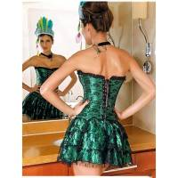 Corset Set Green with Black Lace Overlay Design