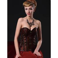 Steel Boned Corset Brown with Hinges Also Plus Sizes
