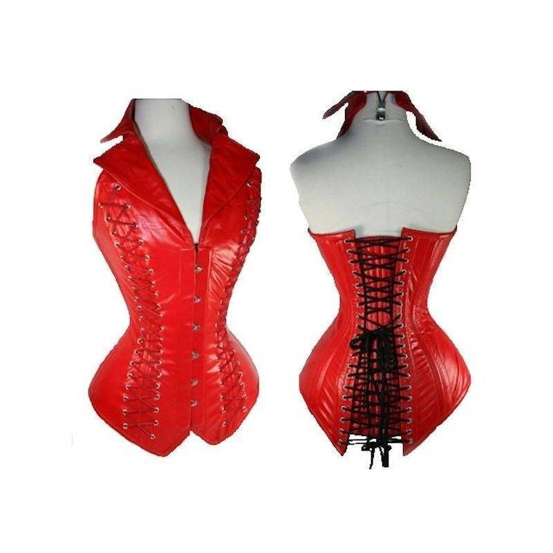 Steel Boned Corset Red Leather Fabric with Collar