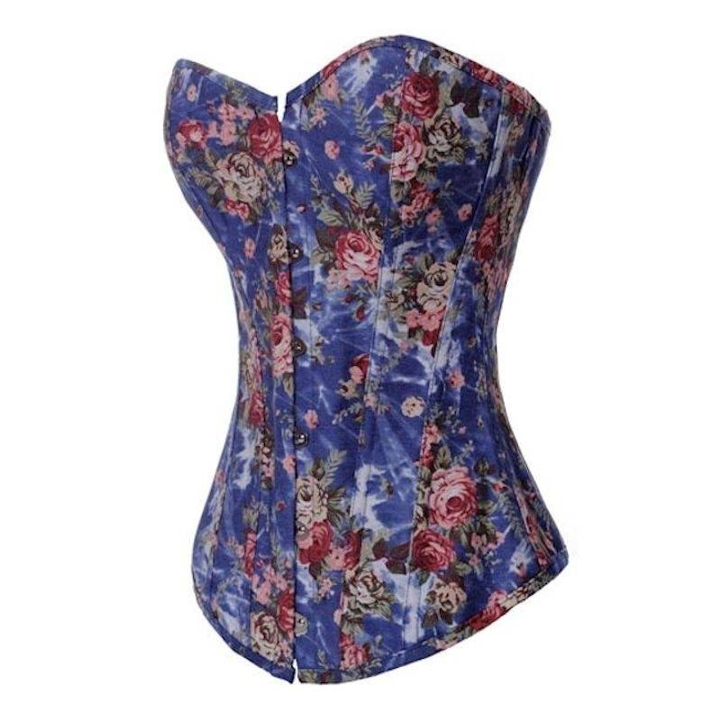 Corset Blue Denim with Rose Designs