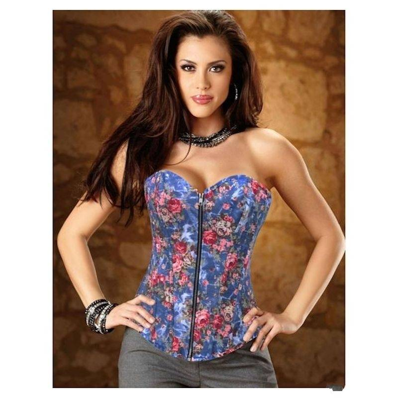 Corset Blue Floral Denim Fabric with Zipper