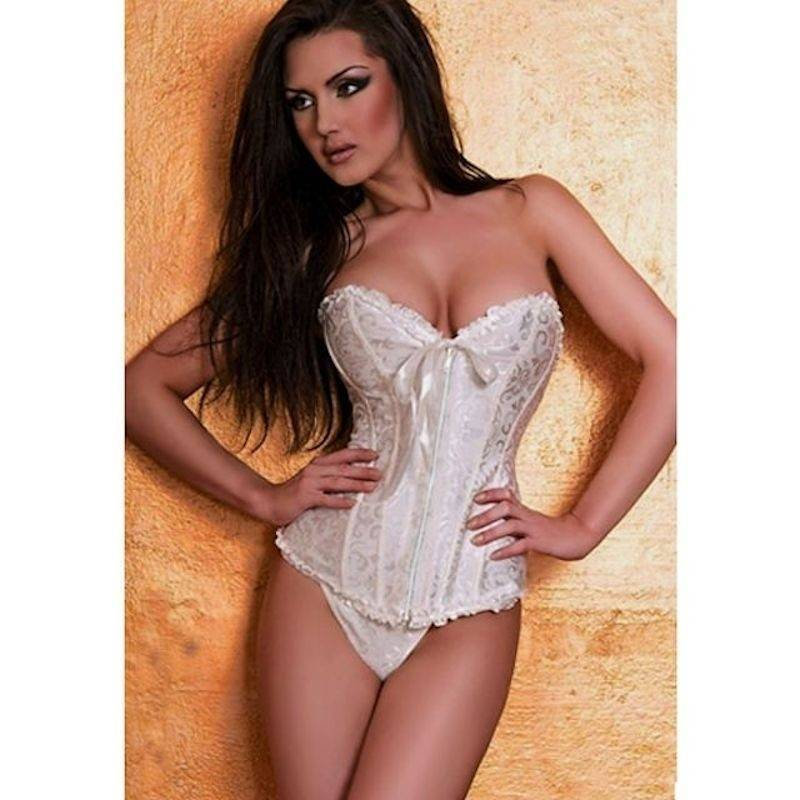Bridal Corset White with Front Zipper Also in Plus Sizes