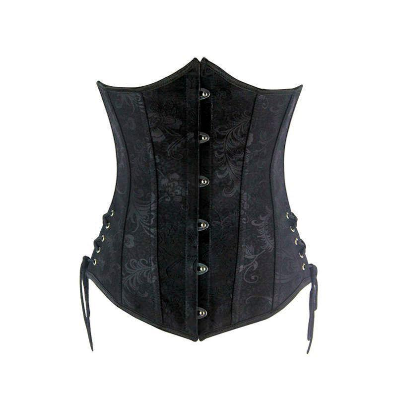Steel Boned Underbust Corset Black with Ties Also Plus Sizes