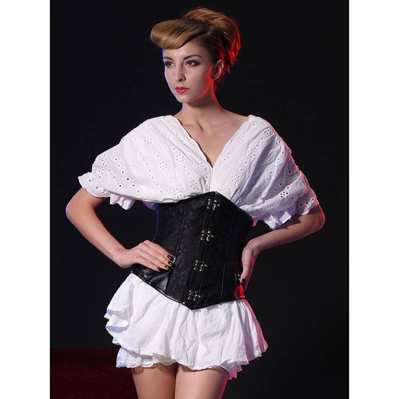 Steel Boned Underbust Corset Black with Hinge Closures