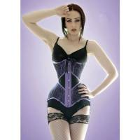 Steel Boned Underbust Corset Purple Lace Waist Trainer