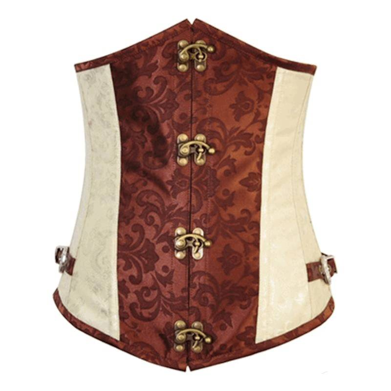 Steel Boned Underbust Corset Ivory and Brown