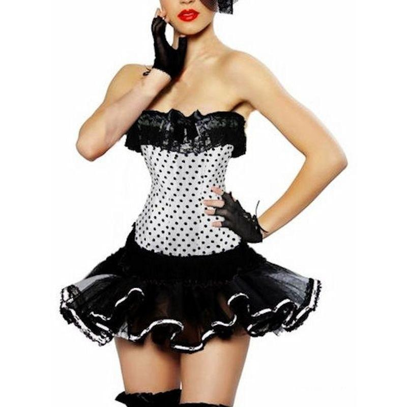 Corset Set White Polka Dot Top and Black Skirt