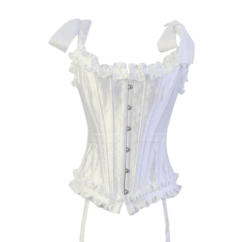 Bridal Corset Steel Boned White with Reinforced Panels