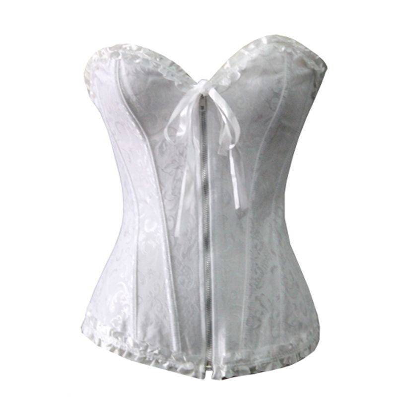 Bridal Corset White Damask with Front Zipper
