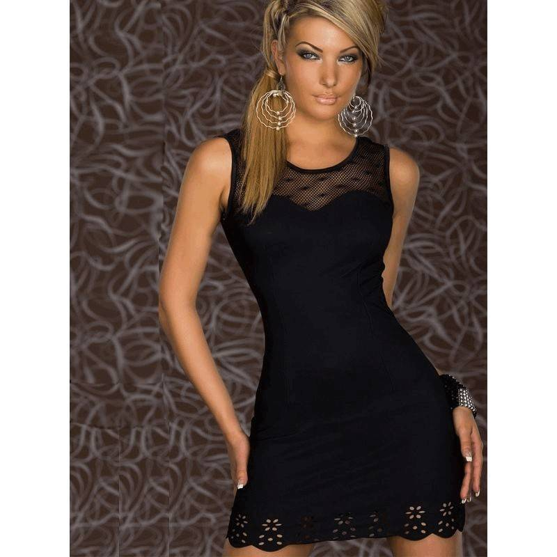 Black Dress with Lace Bodice and Scalloped Hemline
