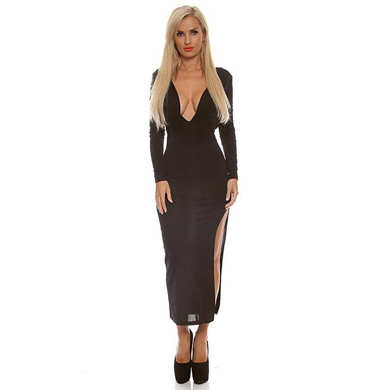 Black Dress Long with Side Slits